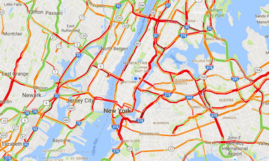 city with nerve interference, traffic jam