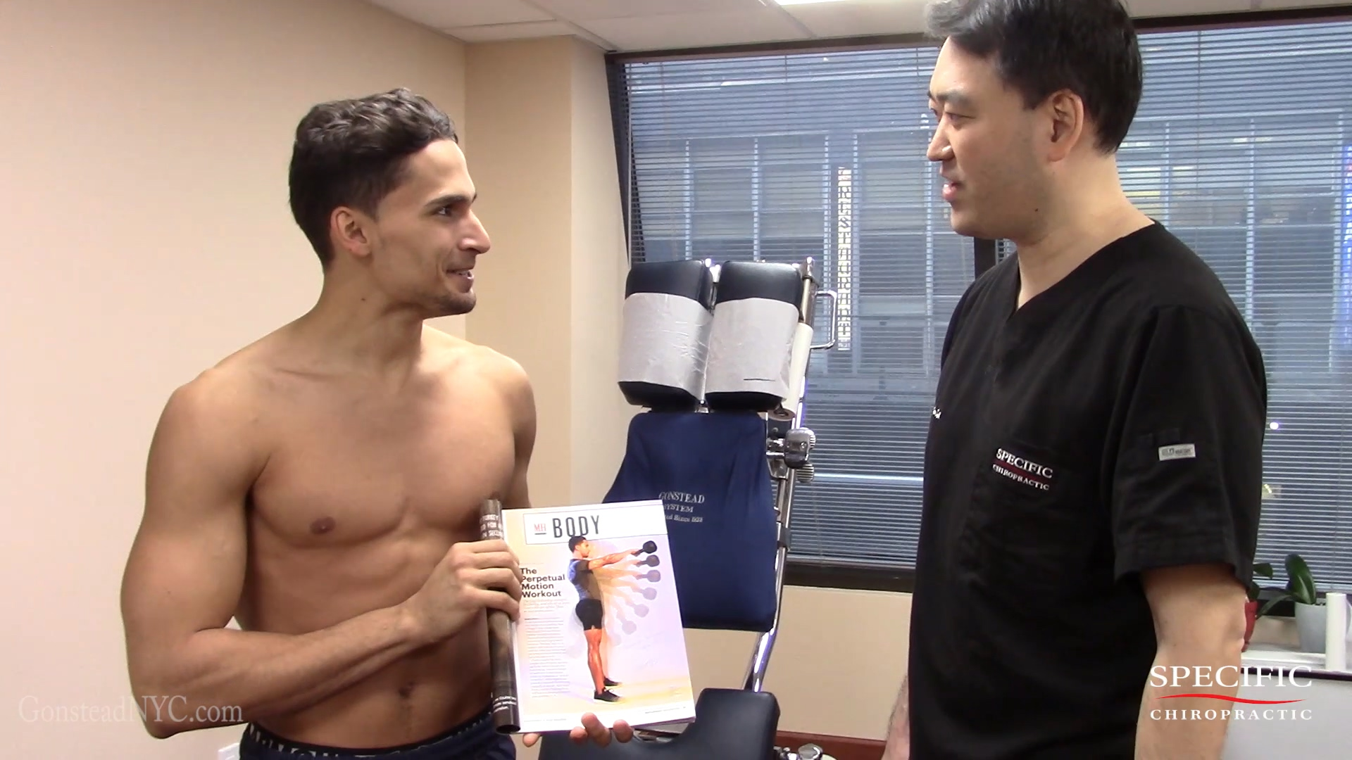 Mens Health Magazine Model shoulder and low back FIXED by Dr Suh Specific Chiropractic